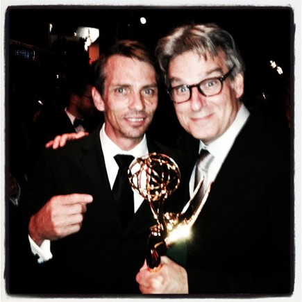 Actor, Charles Baker (left) celebrates Emmy win for Breaking Bad - Best Drama Winner